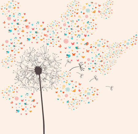 Springtime dandelion greeting card composition. Vector