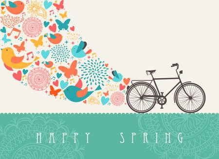 자전거 조성 봄 개념 인사말 카드입니다.