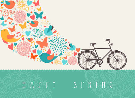 Spring concept greeting card with bicycle composition.  Illustration