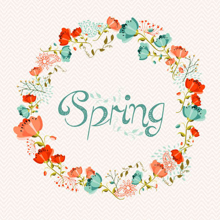 vector greeting card: Springtime greeting card with colorful flowers composition. EPS10 vector file organized in layers for easy editing.