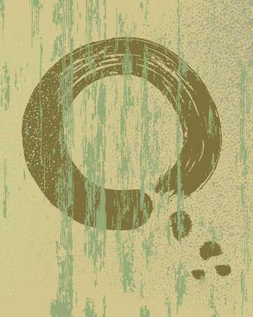 meditate: Zen circle shape on grunge texture illustration .