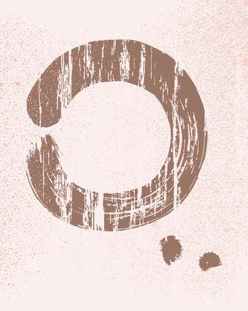 chinese brush: Zen circle shape grunge texture background.