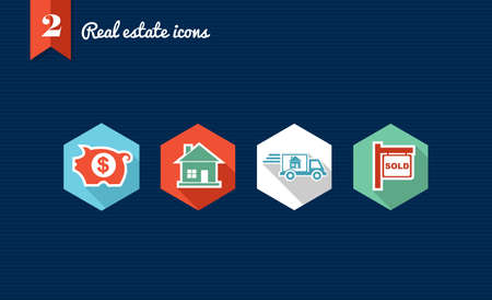 valuation: Set of flat design icons for Real estate business and properties  Vector file layered for easy editing  Illustration