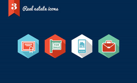 corporate buildings: Set of flat design icons for Real estate business and properties  Vector file layered for easy editing  Illustration
