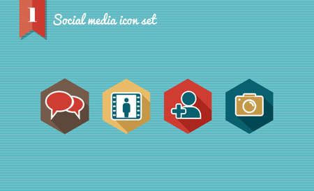 keywords bubble: Set of flat design icons for Social media network illustration  Vector illustration file layered for easy editing