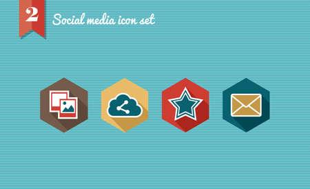 Set of flat design icons for Social media network illustration  Vector illustration file layered for easy editing