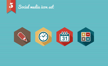 high society: Set of flat design icons for Social media network illustration  Vector illustration file layered for easy editing