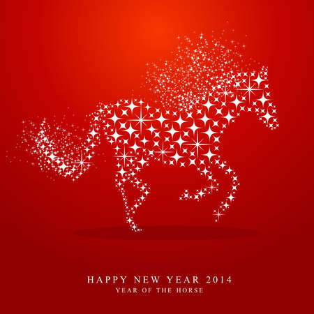 happy newyear: Happy Chinese New Year of horse 2014 contemporary star shapes greeting card on red background.  Illustration