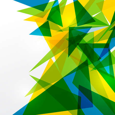Abstract geometric Brazil flag concept background. Useful for cover, book, website or advertising design.  Vector