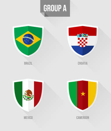 nation: Soccer Championship 2014. Flat icons for Group A nation flags in shield sign: Croatia, Mexico, Cameroon and Brazil. EPS10 vector with transparency organized in layers for easy editing. Illustration