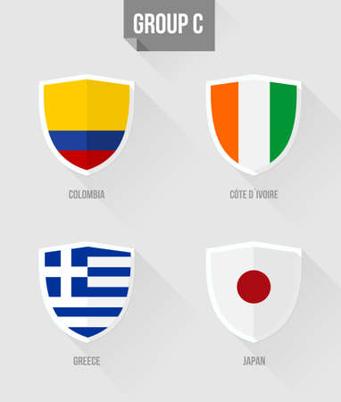 elimination: Brazil Soccer Championship 2014. Flat icons for Group C nation flags in shield sign: Colombia, Greece, Japan and Cote Divoire.