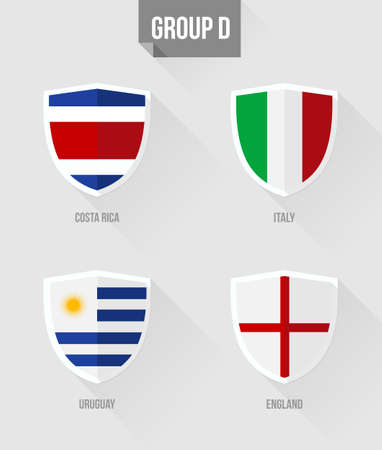 Brazil Soccer Championship 2014. Flat icons for Group D nation flags in shield sign: Uruguay, Italy, Costa Rica, England.