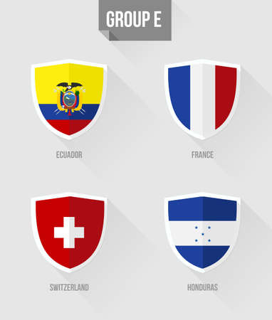 nation: Brazil Soccer Championship 2014. Flat icons for Group E nation flags in shield sign: Ecuador, France, Switzerland, Honduras.