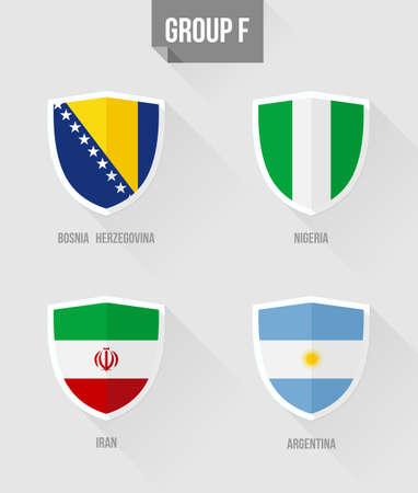 uefa: Brasilien Fu�ball-EM 2014 Flache Symbole f�r Gruppe F Nation Flaggen in Schildzeichen:. Bosnien-Herzegowina, Nigeria, Iran, Argentinien.