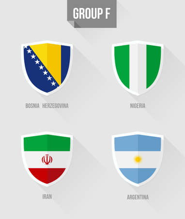 uefa: Brazil Soccer Championship 2014. Flat icons for Group F nation flags in shield sign: Bosnia Herzegovina, Nigeria, Iran, Argentina.