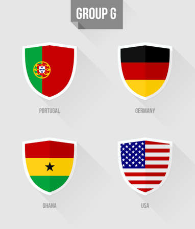 uefa: Brazil Soccer Championship 2014. Flat icons for Group G nation flags in shield sign: Portugal, Germany, Ghana, USA.  Illustration