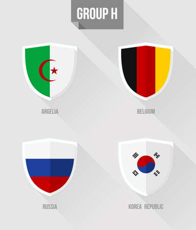 nation: Brazil Soccer Championship 2014. Flat icons for Group H nation flags in shield sign: Argelia, Belgium, Russia, Korea Republic.  Illustration