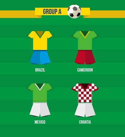 Soccer Championship 2014. National team uniforms for Group A: Croatia, Mexico, Cameroon and Brazil.  Vector