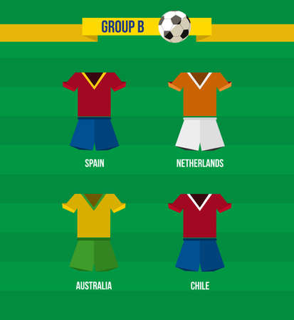Brazil Soccer Championship 2014. National team uniforms for Group B: Spain, Netherlands, Chile and Australia.  Vector