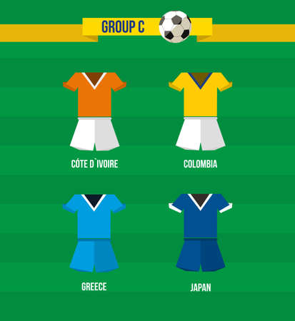 Brazil Soccer Championship 2014. National team uniforms for Group C: Colombia, Greece, Japan and Cote Divoire.  Vector