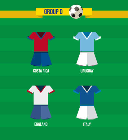 Brazil Soccer Championship 2014. National team uniforms for Group D: Uruguay, Italy, Costa Rica, England.  Vector