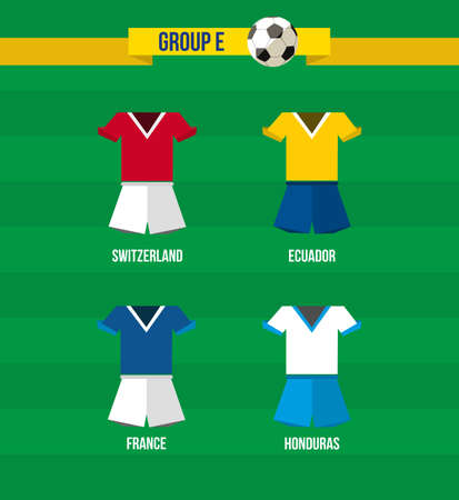 Brazil Soccer Championship 2014. National team uniforms for Group E: Ecuador, France, Switzerland, Honduras.  Vector