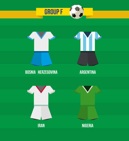 Brazil Soccer Championship 2014. National team uniforms for Group F: Bosnia Herzegovina, Nigeria, Iran, Argentina. Vector