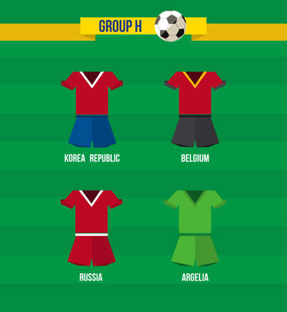 Brazil Soccer Championship 2014. National team uniforms for Group H: Argelia, Belgium, Russia, Korea Republic.  Vector