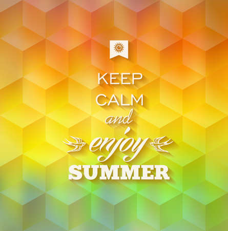 Abstract Summer hipster greeting card with blurry effect background  vector file with transparency layers  Vector