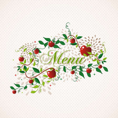 Vegetarian restaurant menu design with apples and leaves. Retro style calligraphy.  vector file organized in layers for easy editing. Vector