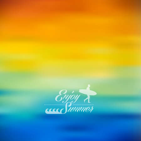 summer holidays: Summer holidays, surf and wave elements with colorful blurry effect background.  vector file with transparency layers.