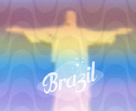 redeemer: Brazil monument over diversity colors blurred effect background. Redeemer Christ Rio de Janeiro. EPS10 vector with transparency organized in layers for easy editing. Illustration