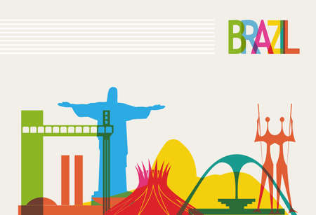 Diversity monuments of Brazil, famous skyline colors transparency. EPS10 vector organized in layers for easy editing. Vector