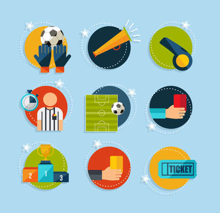 soccer referee: Soccer Champions flat icons set. EPS10 vector organized in layers for easy editing.