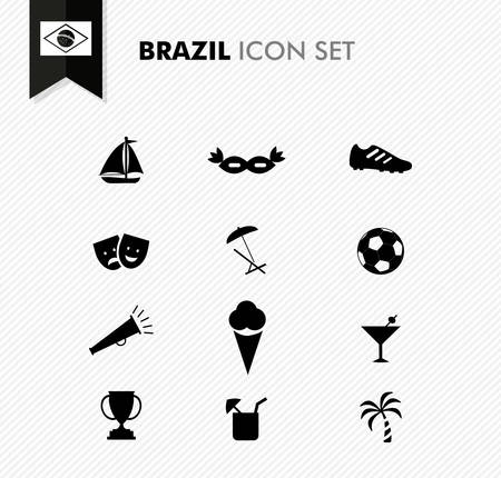 Brazil soccer champions and culture icons set. EPS10 vector organized in layers for easy editing. Vector