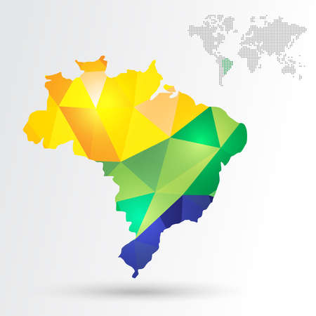 Infographic abstract Brazil map with dotted map world. EPS10 vector with transparency organized in layers for easy editing. Vector