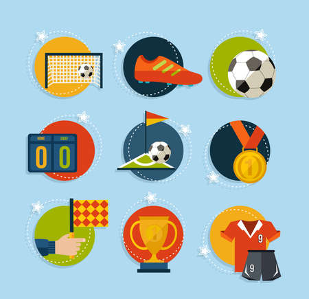 Soccer Champions flat icons set. EPS10 vector organized in layers for easy editing. Vector