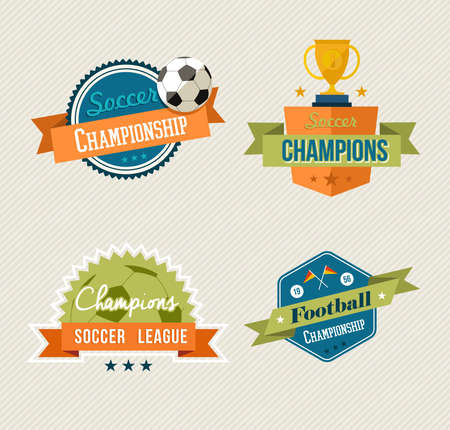 Set of retro soccer champions labels. EPS10 vector organized in layers for easy editing. Vector