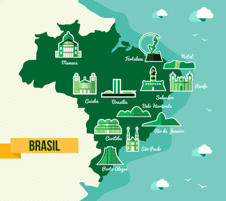 Soccer championship Brazil map with landmark of cities. EPS10 vector organized in layers for easy editing. Vector