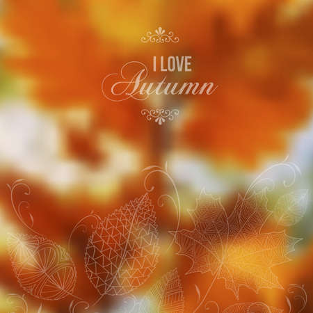 I love Autumn retro poster with abstract blurred fall background