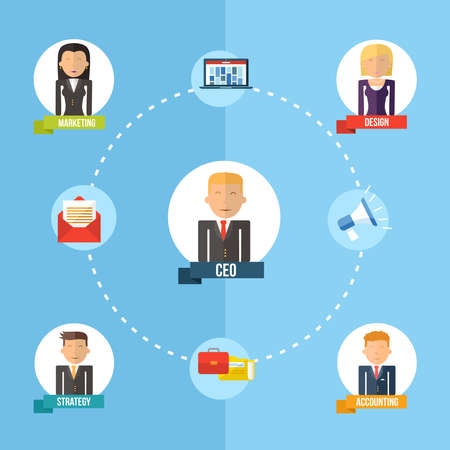 ceo: Digital Business era management chart concept in flat icons design style  Marketing web, network and CEO elements  EPS10 vector file organized in layers for easy editing  Illustration