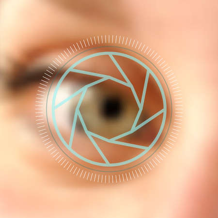 color digital camera: Digital photography human eye camera lens concept  Illustration