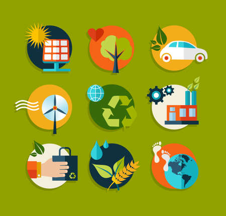 Set of flat icons about environment and ecology concepts Vector