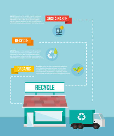 Recycle and logistics diagram infographics template in flat design style Vector