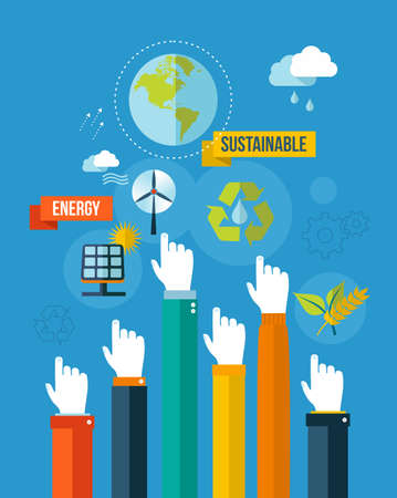 business environment: Global green environment and sustainable development hands with icons illustration background  EPS10 vector file organized in layers for easy editing