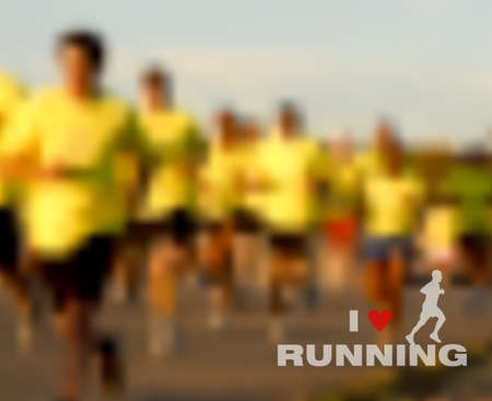 Runners on the race  People running marathon on street, sport and fitness vector blurred effect background   Vector
