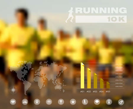 Runners on the race global infographic design blurred effect background
