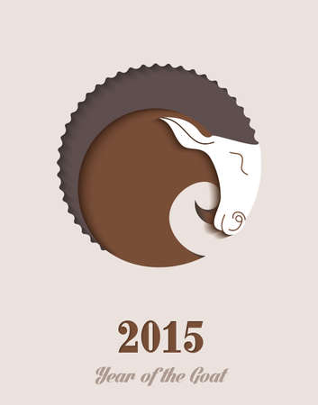 2015 Chinese New Year of the Goat paper cut composition. Vector