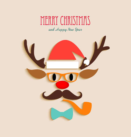 tarjeta de invitacion: Feliz inconformista renos navide�os. Vectores