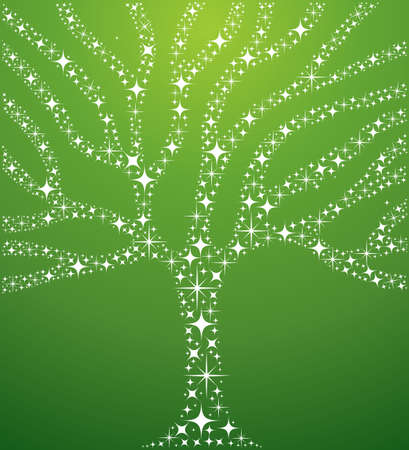 tree of life silhouette: Abstract tree illustration made with stars composition over green background.